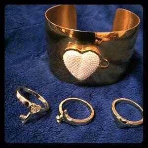 Cuff bracelet & 3 stackable rings